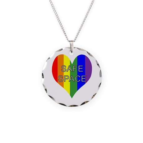 Safe Space In Heart Necklace Circle Charm