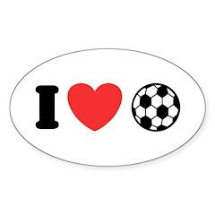 I Love Soccer Oval Sticker