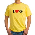 I Love Soccer Yellow T-Shirt
