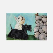 Scotties and Wren Rectangle Magnet