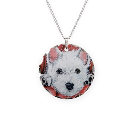 Westie Puppy Love Necklace Circle Charm