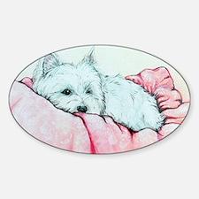 Sleepy Westie Sticker (Oval)
