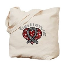 Brain Tumor Believe Heart Tote Bag