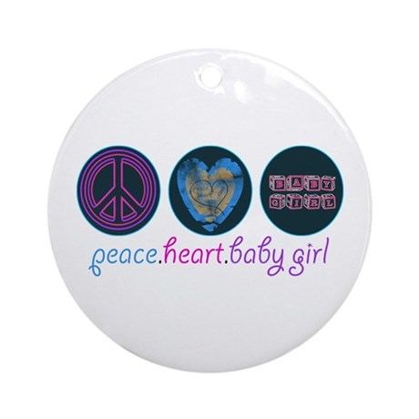 PEACE HEART BABY GIRL Ornament (Round)