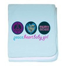 PEACE HEART BABY GIRL baby blanket