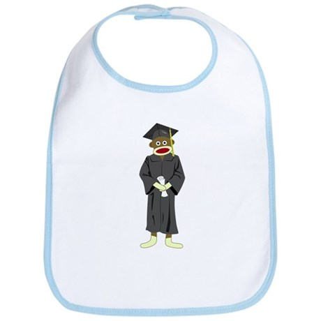 Sock Monkey Graduation Baby Bib