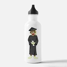 Sock Monkey Graduation Water Bottle