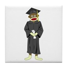 Sock Monkey Graduation Tile Coaster