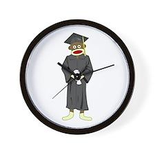 Sock Monkey Graduation Wall Clock