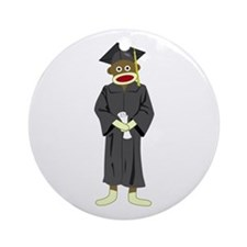 Sock Monkey Graduation Ornament (Round)