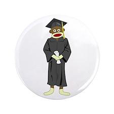 "Sock Monkey Graduation 3.5"" Button"