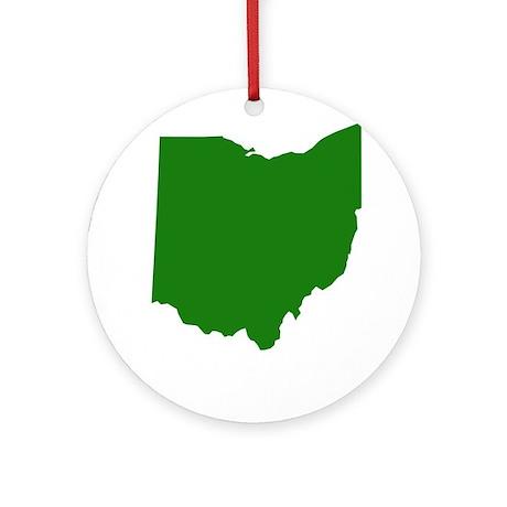 Green Ohio Ornament (Round)