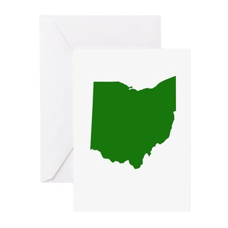Green Ohio Greeting Cards (Pk of 10)