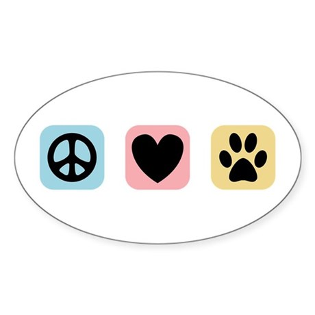Peace Love Pets [i] Sticker (Oval)
