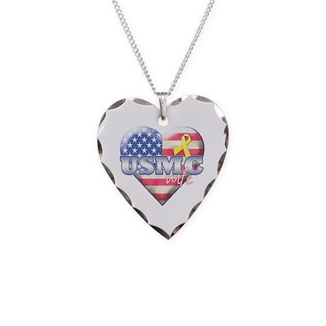 USMC Wife - Necklace Heart Charm