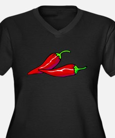 Red Hot Peppers Women's Plus Size V-Neck Dark T-Sh