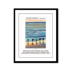 Surefers at Sunset by Riccoboni Framed Panel Print