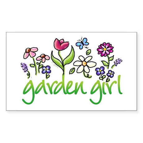 Garden Girl 2 Rectangle Sticker