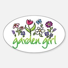 Garden Girl 2 Oval Bumper Stickers