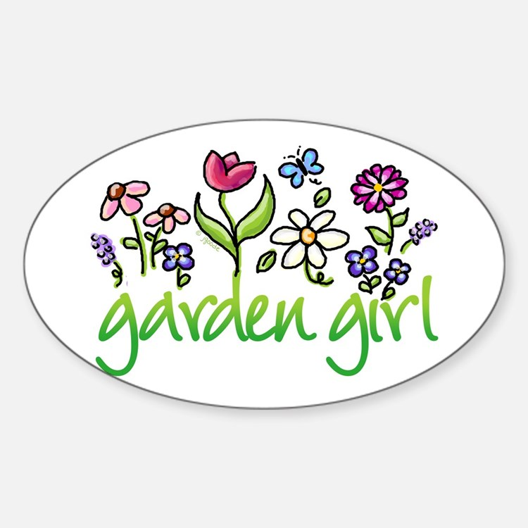Garden Girl 2 Oval Decal