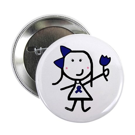 "Girl & Blue Ribbon 2.25"" Button (10 pack)"