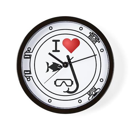 I Heart Snorkeling Wall Clock