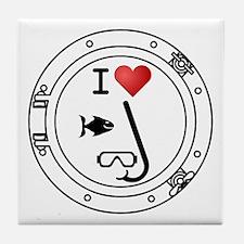 I Heart Snorkeling Tile Coaster