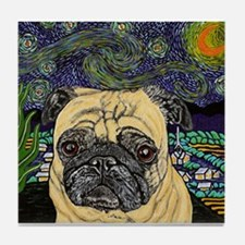 Starry night pug Tile Coaster