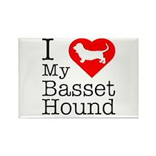 I Love My Basset Hound Rectangle Magnet