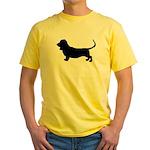 basset hound silhouette Yellow T-Shirt
