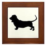 basset hound silhouette Framed Tile