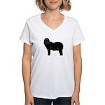 Bearded Collie Silhouette Women's V-Neck T-Shirt