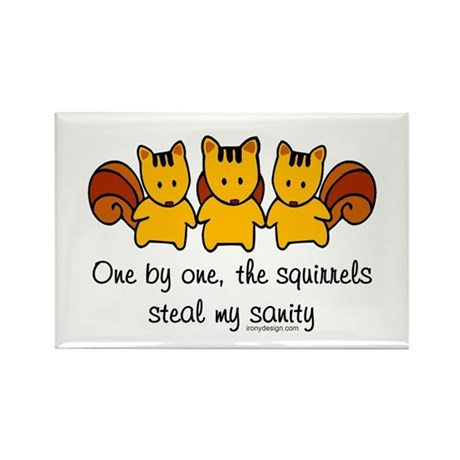 One by one, the squirrels Rectangle Magnet