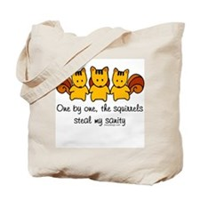 One by one, the squirrels Tote Bag