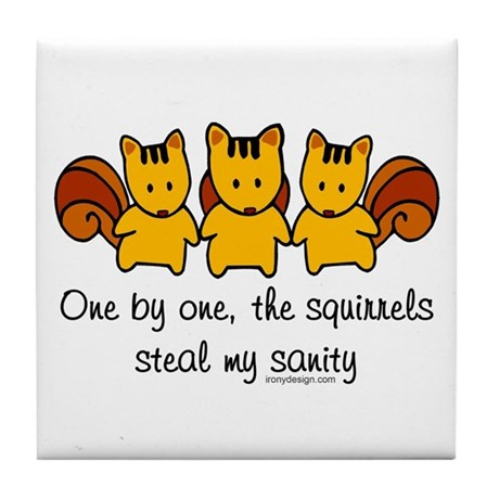 One by one, the squirrels Tile Coaster