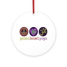 PEACE HEART YOGA Ornament (Round)