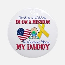 Welcome Home Daddy Baby Ornament (Round)