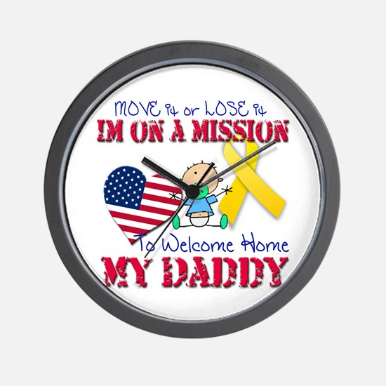 Welcome Home Daddy Baby Wall Clock