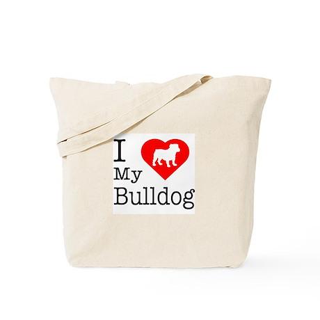 I Love My Bulldog Tote Bag