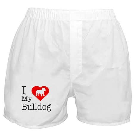 I Love My Bulldog Boxer Shorts