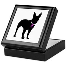 Bull Terrier Breast Cancer Support Keepsake Box