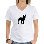 Bull Terrier Silhouette Women's V-Neck T-Shirt