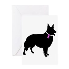 Collie Breast Cancer Support Greeting Card