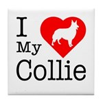 I Love My Collie Tile Coaster
