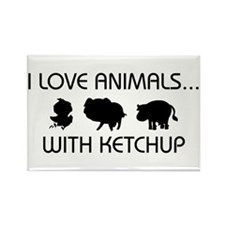 I Love Animals With Ketchup Rectangle Magnet