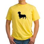 Dachshund Silhouette Yellow T-Shirt