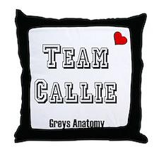 Team Callie Heart Greys Throw Pillow