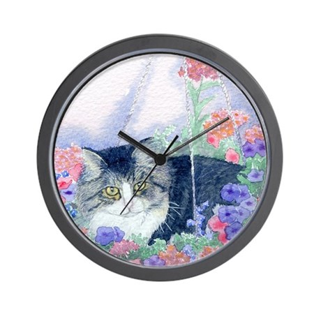 Cat in hanging basket Wall Clock