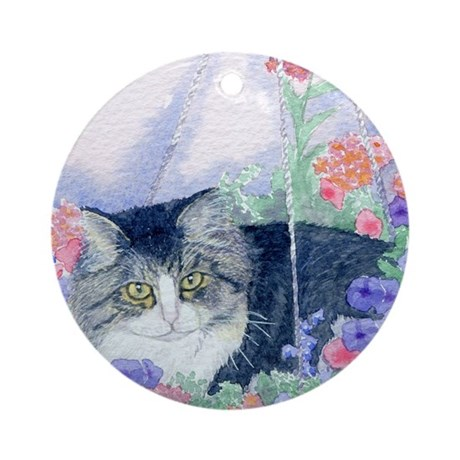 Cat in hanging basket Ornament (Round)