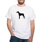 Doberman Pinscher Silhouette White T-Shirt